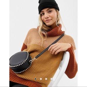 ASOS Brown Tan Patchy Stripe Turtleneck Sweater